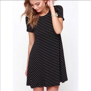 Lulus ferry ride black stripe swing t shirt dress
